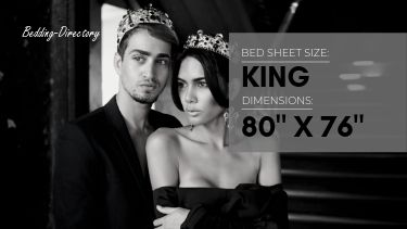 a picture of the dimensions of king size bed sheets