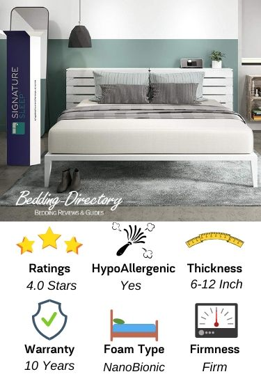 Infographic of the best bed in a box for back pain by Signature Sleep