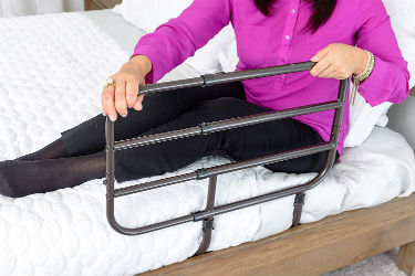 Close up of the Able Life Bedside Adult Safety Bed Rail