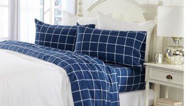 Great Bay Home Extra Soft Windowpane 100% Turkish Cotton Flannel Sheet
